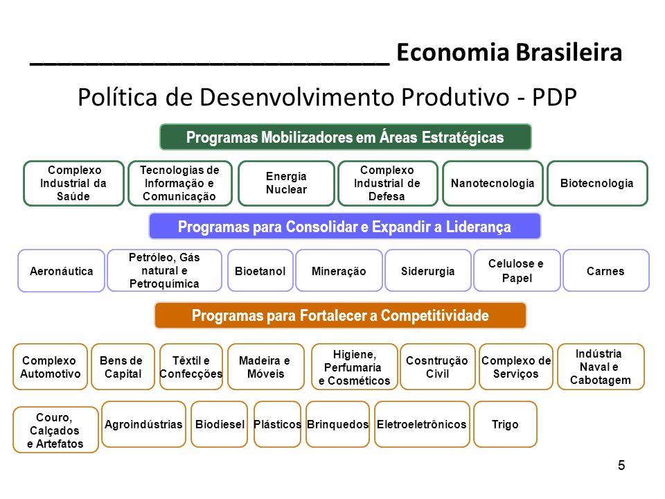 55 __________________________ Economia Brasileira Programas Mobilizadores em Áreas Estratégicas Complexo Industrial da Saúde Tecnologias de Informação