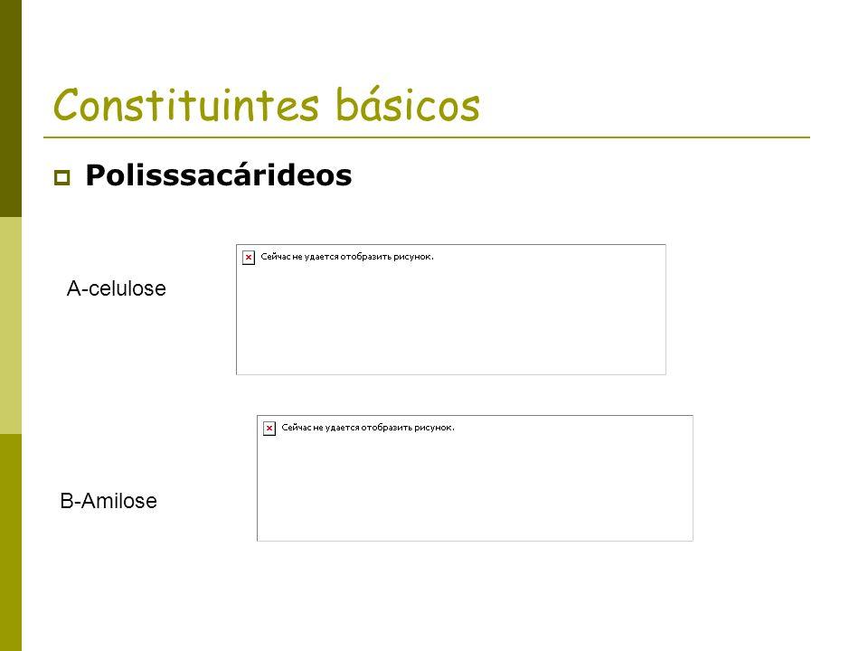 Constituintes básicos Polisssacárideos A-celulose B-Amilose