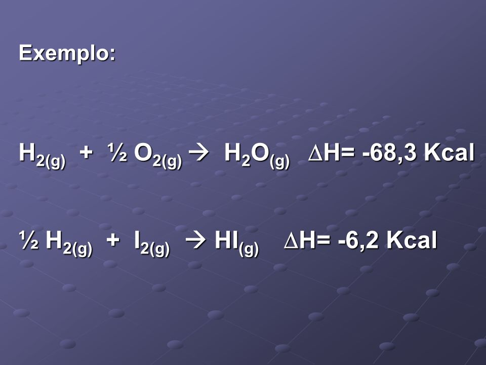 Exemplo: H 2(g) + ½ O 2(g) H 2 O (g) H= -68,3 Kcal ½ H 2(g) + I 2(g) HI (g) H= -6,2 Kcal