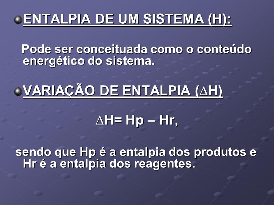 CALOR OU ENTALPIA DE COMBUSTÃO: É a variação de entalpia que ocorre na combustão de 1 mol de uma substância a 25ºC e 1 atm de pressão.