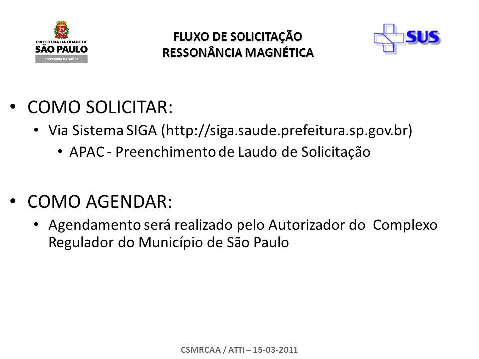 FLUXO DE SOLICITAÇÃO RESSONÂNCIA MAGNÉTICA CSMRCAA / ATTI – 15-03-2011 RESPONSABILIDADE DO SOLICITANTE Tomar conhecimento dos Agendamentos pelo Sistema SIGA MÓDULO - APAC – Acompanhamento de Solicitação; Informar o USUÁRIO/PACIENTE os Dados do Agendamento: Local – Endereço – Data e Hora do Exame; (na impossibilidade de comparecimento do usuário, entrar em contato com o Complexo Regulador para remarcação: Tel de contato ou e-mail: Imprimir e ENTREGAR AO USUARIO o comprovante de Agendamento e LAUDO DE APAC AUTORIZADO;