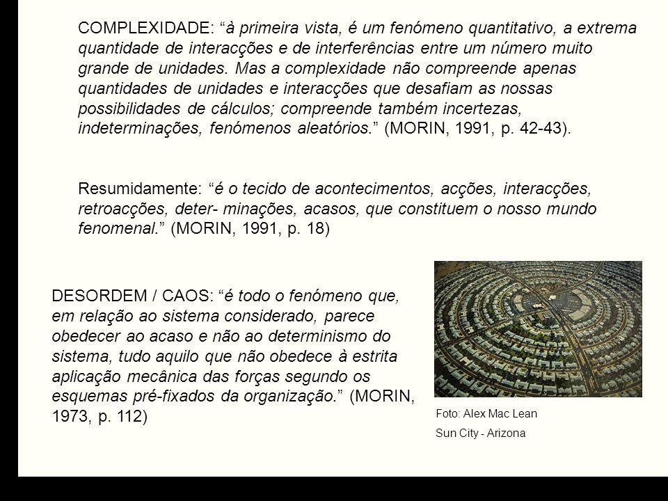 DESORDEM / CAOS: é todo o fenómeno que, em relação ao sistema considerado, parece obedecer ao acaso e não ao determinismo do sistema, tudo aquilo que