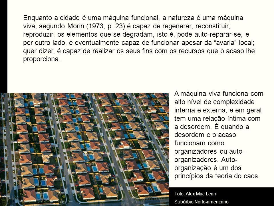 Enquanto a cidade é uma máquina funcional, a natureza é uma máquina viva, segundo Morin (1973, p. 23) é capaz de regenerar, reconstituir, reproduzir,