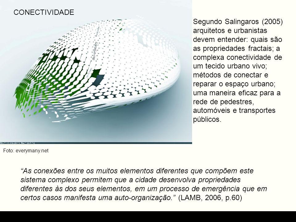 CONECTIVIDADE Segundo Salingaros (2005) arquitetos e urbanistas devem entender: quais são as propriedades fractais; a complexa conectividade de um tec
