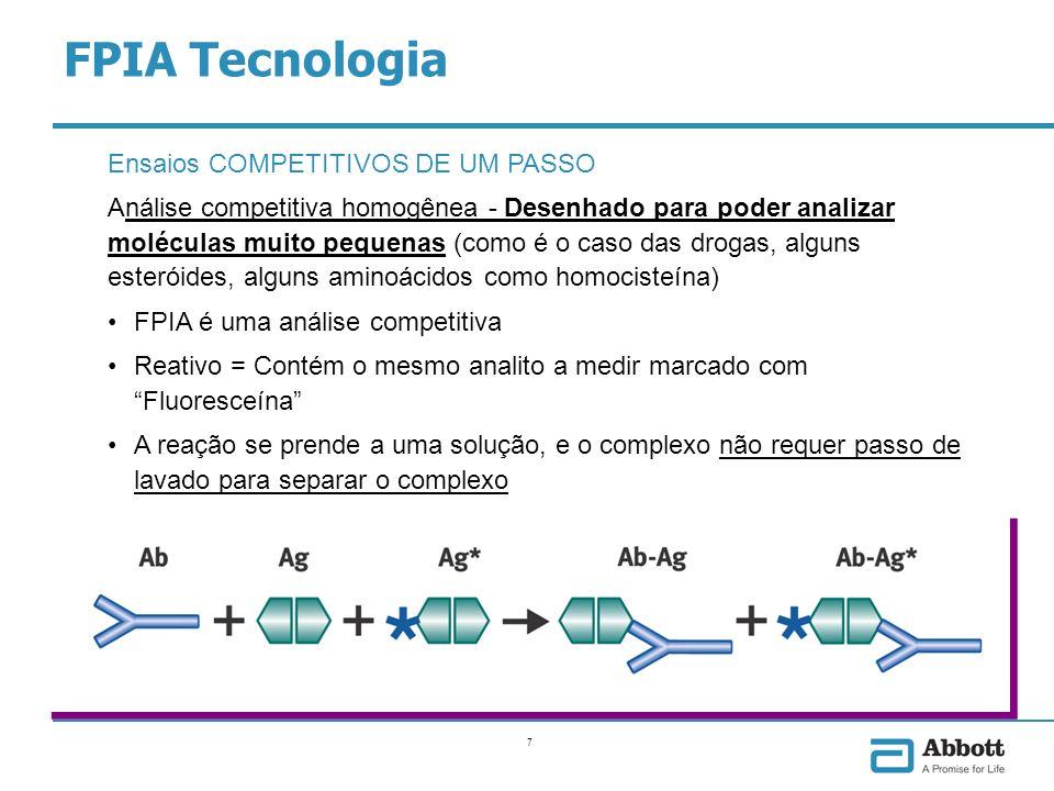 8 Ensaios FPIA de dois passos Estão desenhados para melhorar a sensibilidade dos ensaios Um primeiro passo se junta com o excesso de Anticorpos e permite suficiente tempo de incubação Um segundo passo permite a união do antígeno marcado com as imunoglobulinas presentes FPIA Tecnologia
