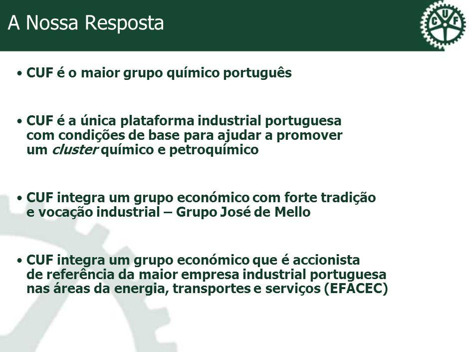A Nossa Resposta CUF é o maior grupo químico português CUF é a única plataforma industrial portuguesa com condições de base para ajudar a promover um