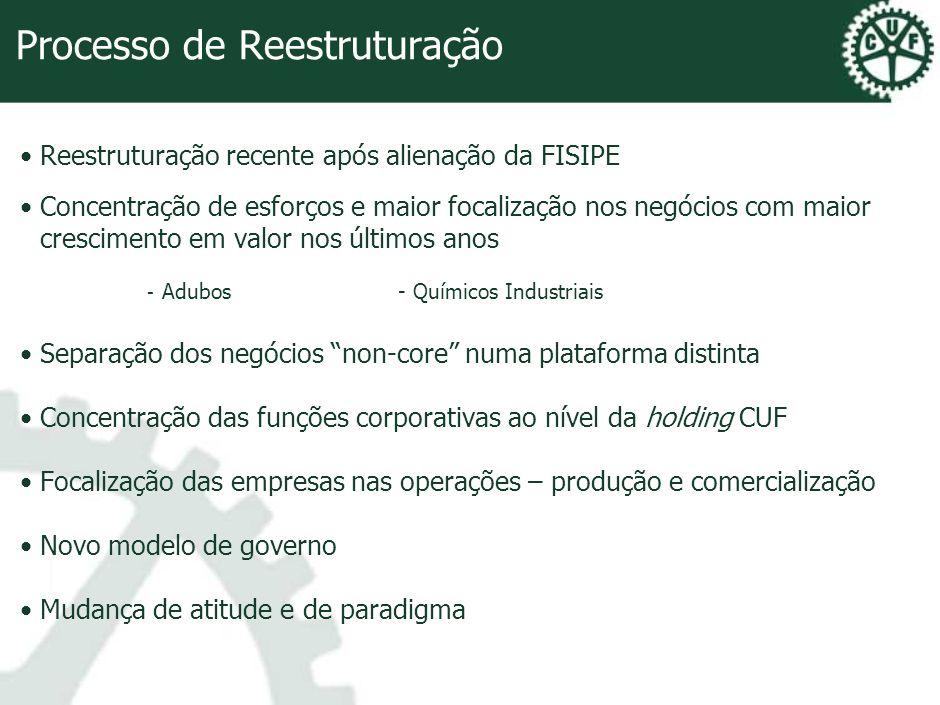 Processo de Reestruturação Reestruturação recente após alienação da FISIPE Concentração de esforços e maior focalização nos negócios com maior crescim