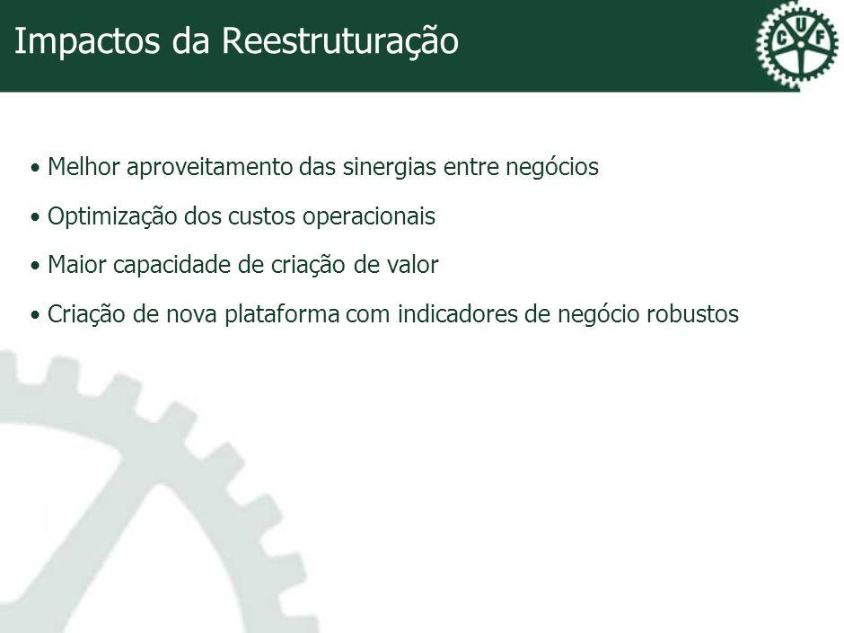 Impactos da Reestruturação Melhor aproveitamento das sinergias entre negócios Optimização dos custos operacionais Maior capacidade de criação de valor