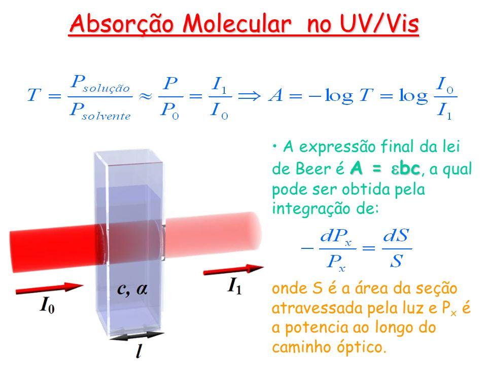 A = bc A expressão final da lei de Beer é A = bc, a qual pode ser obtida pela integração de: onde S é a área da seção atravessada pela luz e P x é a p