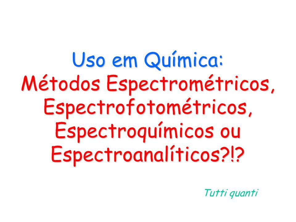 Uso em Química: Métodos Espectrométricos, Espectrofotométricos, Espectroquímicos ou Espectroanalíticos?!? Tutti quanti