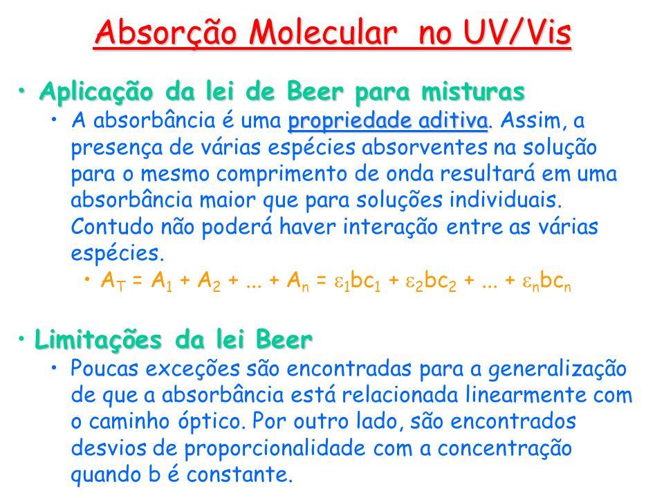 Aplicação da lei de Beer para misturas Aplicação da lei de Beer para misturas propriedade aditivaA absorbância é uma propriedade aditiva. Assim, a pre