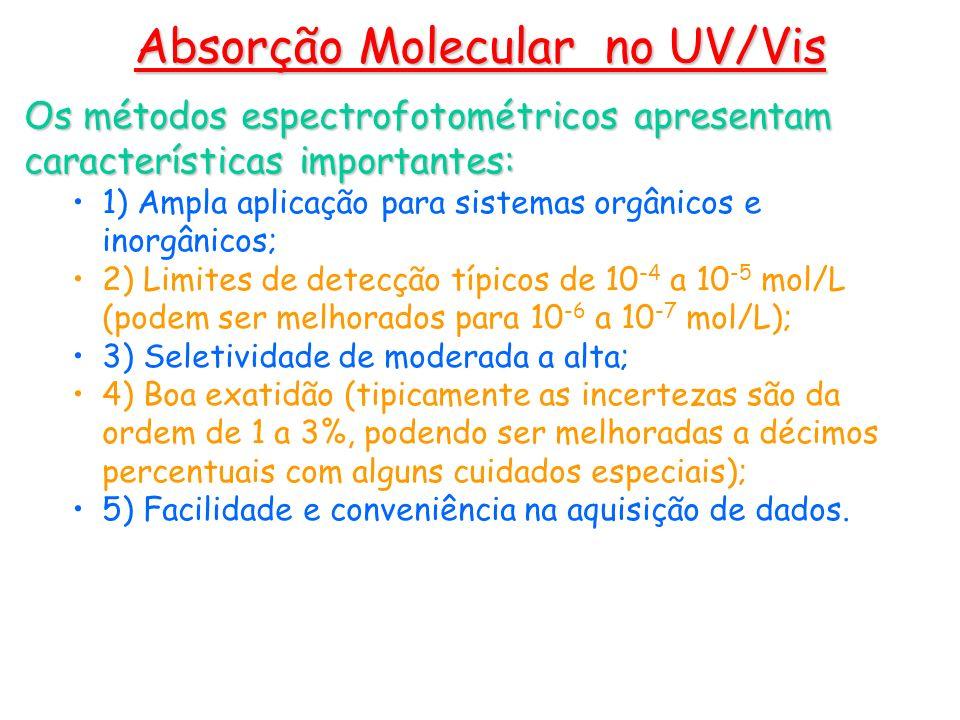Os métodos espectrofotométricos apresentam características importantes: 1) Ampla aplicação para sistemas orgânicos e inorgânicos; 2) Limites de detecç