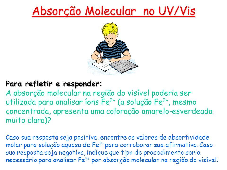 Para refletir e responder: A absorção molecular na região do visível poderia ser utilizada para analisar íons Fe 2+ (a solução Fe 2+, mesmo concentrad