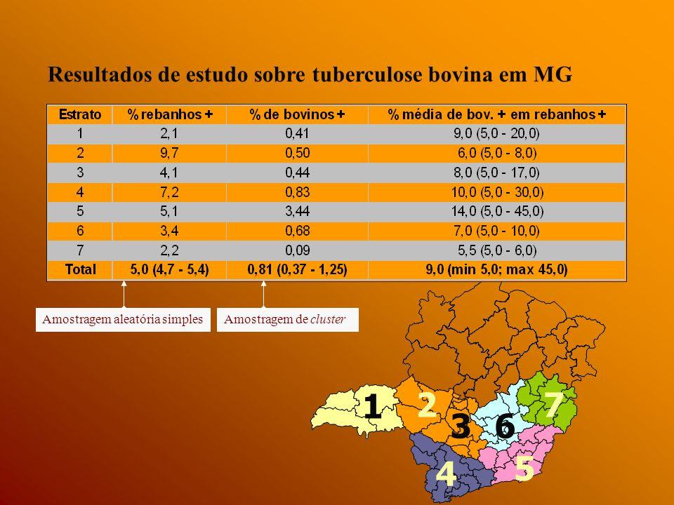 Minas Gerais, 1999 1.600 propriedades e 23.000 animais prevalência de animais infectados = 0,8% prevalência de focos = 5% prevalência de focos nas propriedades produtoras de leite com algum grau de mecanização da ordenha e de tecnificação da produção = 15%