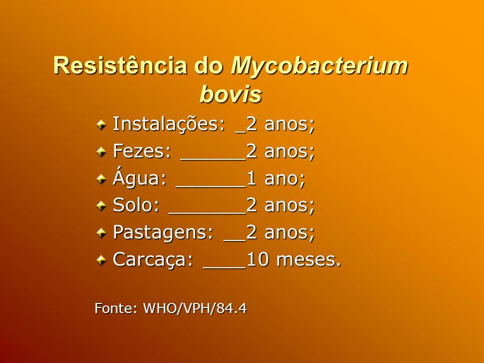 Resistência do Mycobacterium bovis Instalações: 2 anos; Fezes: 2 anos; Água: 1 ano; Solo: 2 anos; Pastagens: 2 anos; Carcaça: 10 meses.