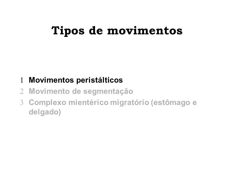 Tipos de movimentos Movimentos peristálticos Movimento de segmentação Complexo mientérico migratório (estômago e delgado)