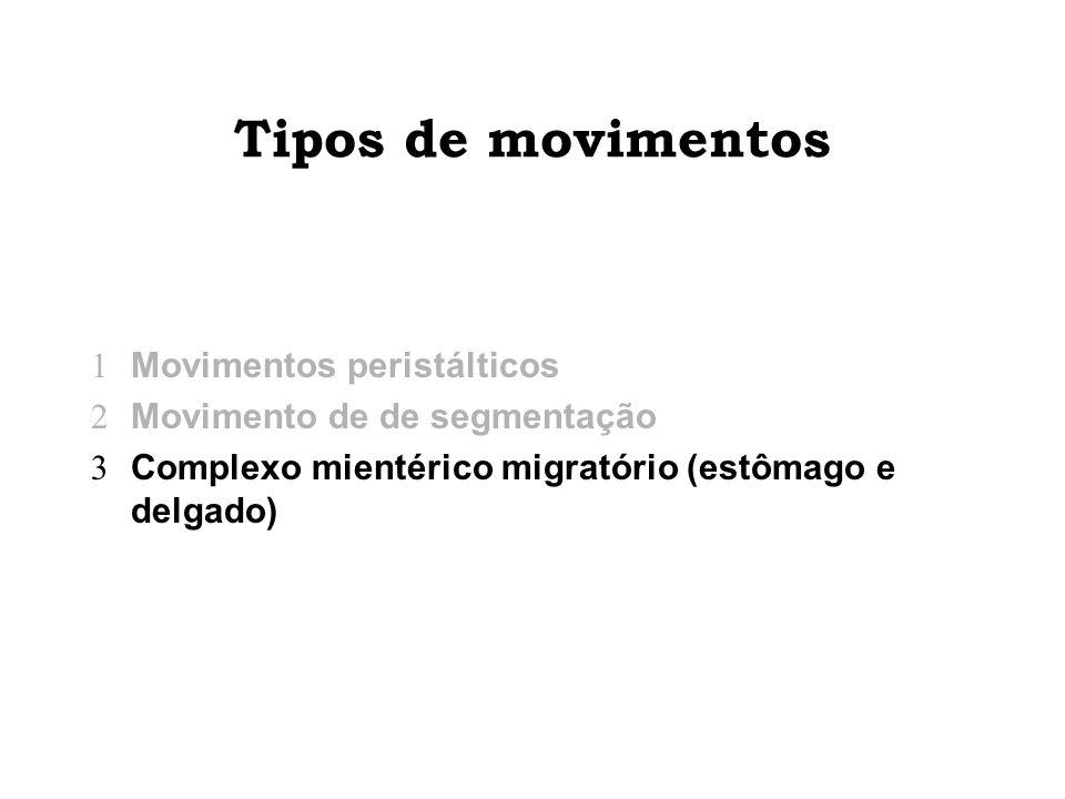 Tipos de movimentos Movimentos peristálticos Movimento de de segmentação Complexo mientérico migratório (estômago e delgado)