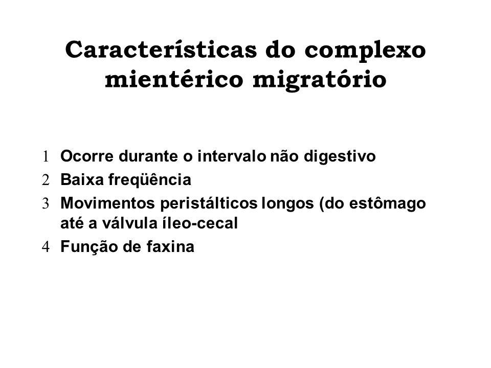 Características do complexo mientérico migratório Ocorre durante o intervalo não digestivo Baixa freqüência Movimentos peristálticos longos (do estôma