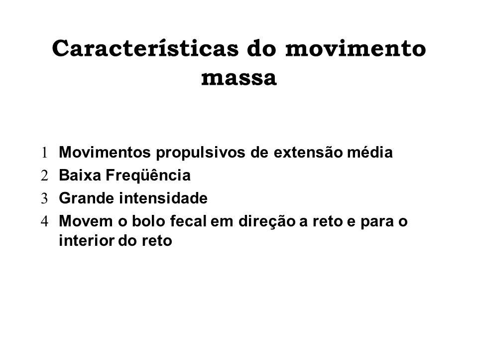 Características do movimento massa Movimentos propulsivos de extensão média Baixa Freqüência Grande intensidade Movem o bolo fecal em direção a reto e