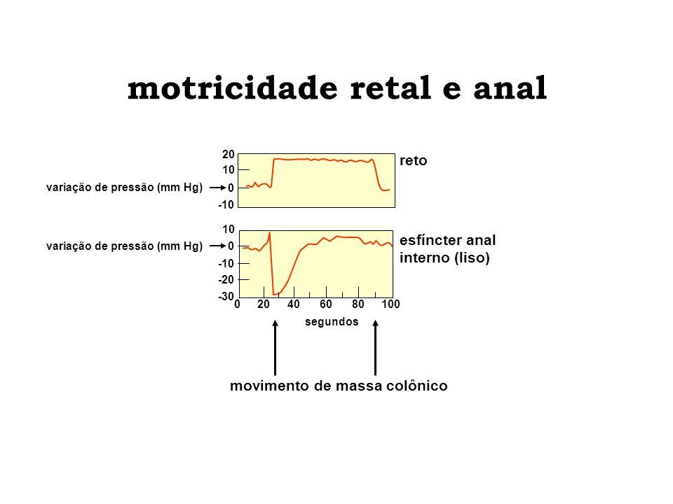 esfíncter anal interno (liso) -30 10 -20 -10 0 motricidade retal e anal variação de pressão (mm Hg) reto 20 0 10 -10 movimento de massa colônico segun