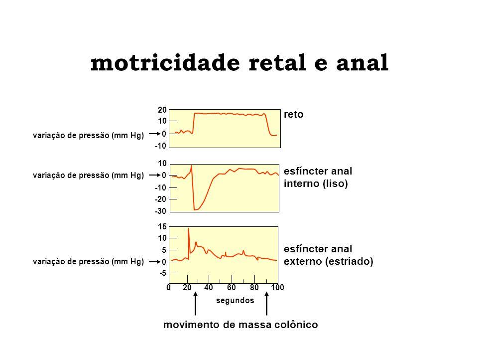 motricidade retal e anal reto esfíncter anal externo (estriado) 010080 segundos 4020 0 10 15 -5 0 5 10 esfíncter anal interno (liso) -30 10 -20 -10 0