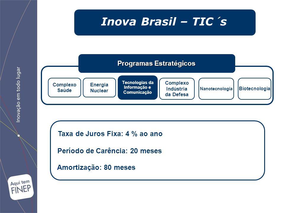 Programas Estratégicos Complexo Saúde Energia Nuclear Tecnologias da Informação e Comunicação Complexo Indústria da Defesa Nanotecnologia Biotecnologia Taxa de Juros Fixa: 4 % ao ano Período de Carência: 20 meses Amortização: 80 meses Inova Brasil – TIC´s