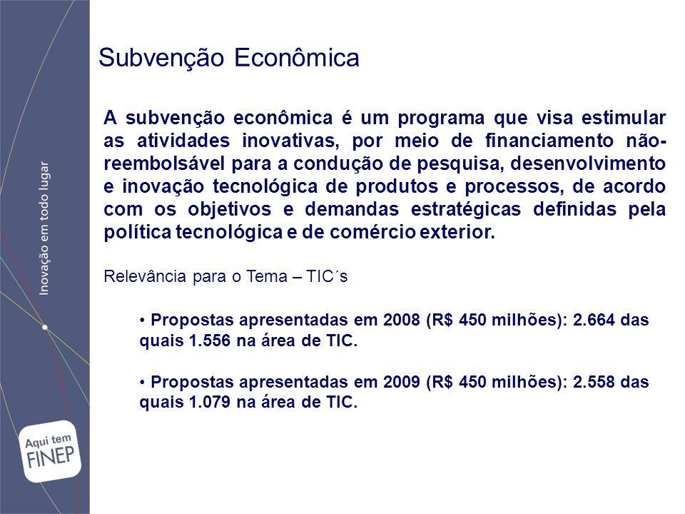 Subvenção Econômica A subvenção econômica é um programa que visa estimular as atividades inovativas, por meio de financiamento não- reembolsável para a condução de pesquisa, desenvolvimento e inovação tecnológica de produtos e processos, de acordo com os objetivos e demandas estratégicas definidas pela política tecnológica e de comércio exterior.
