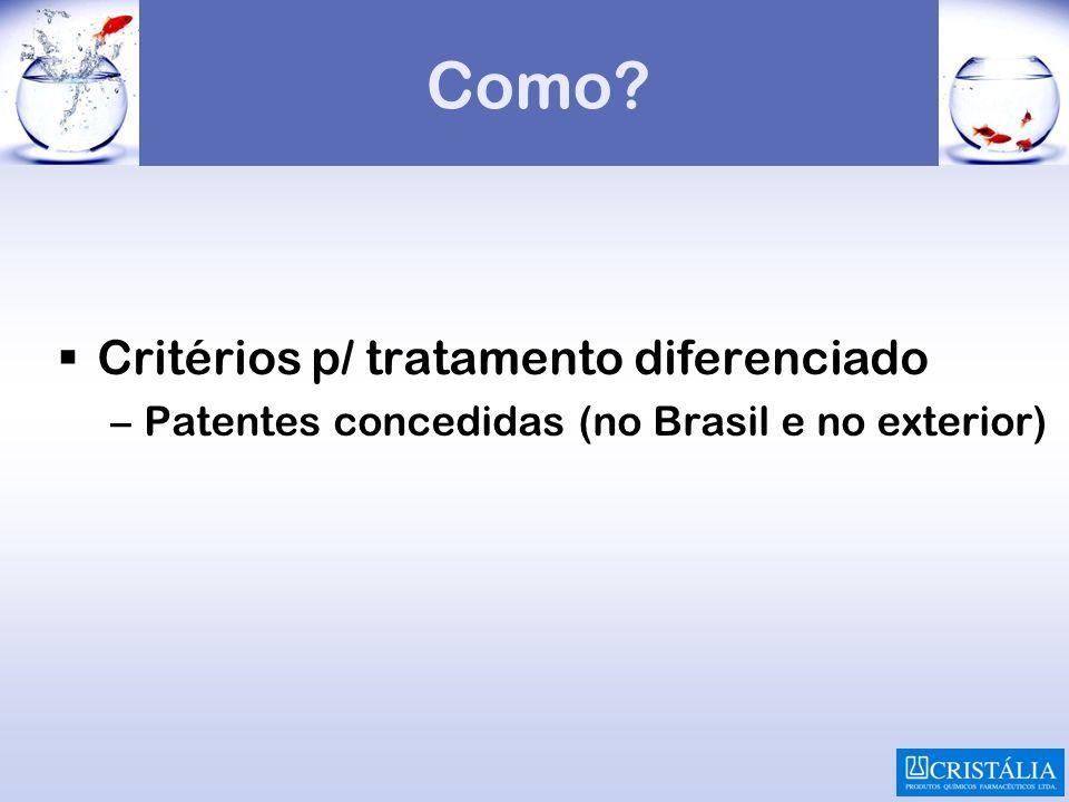 Como? Critérios p/ tratamento diferenciado –Patentes concedidas (no Brasil e no exterior)