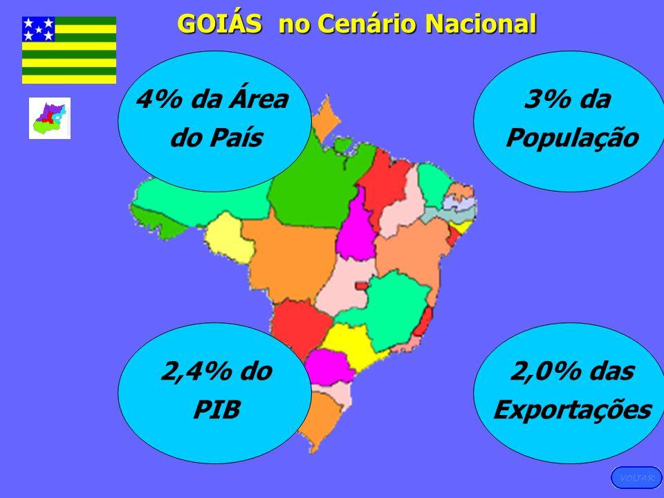 GOIÁS no Cenário Nacional 4% da Área do País 3% da População 2,4% do PIB 2,0% das Exportações