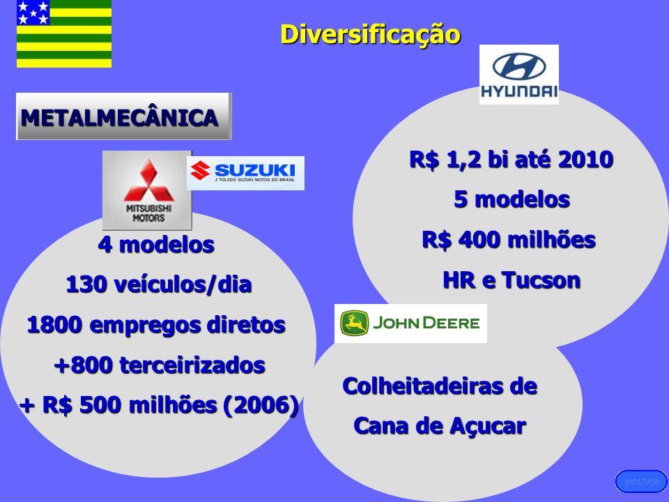 Diversificação Diversificação METALMECÂNICA R$ 1,2 bi até 2010 5 modelos R$ 400 milhões HR e Tucson 4 modelos 130 veículos/dia 1800 empregos diretos +