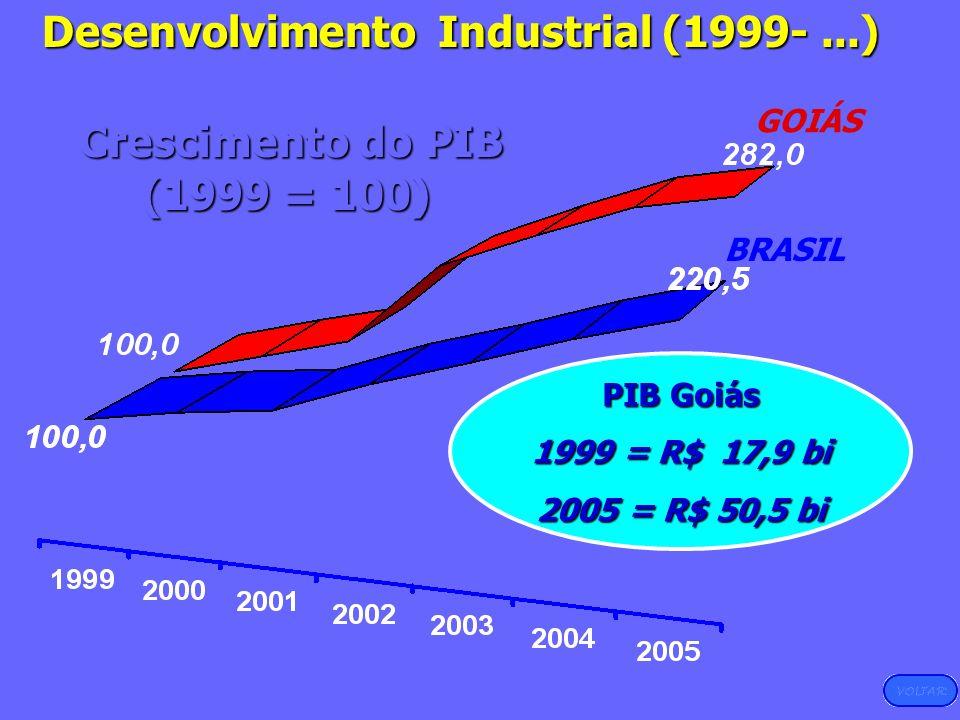 Desenvolvimento Industrial (1999-...) Crescimento do PIB Crescimento do PIB (1999 = 100) (1999 = 100) GOIÁS BRASIL PIB Goiás 1999 = R$ 17,9 bi 2005 =