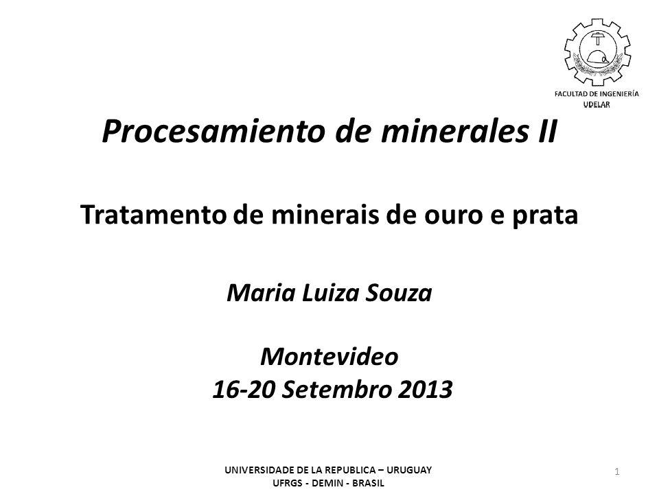 Procesamiento de minerales II Tratamento de minerais de ouro e prata Maria Luiza Souza Montevideo 16-20 Setembro 2013 1 UNIVERSIDADE DE LA REPUBLICA –