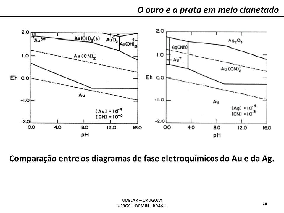 O ouro e a prata em meio cianetado UDELAR – URUGUAY UFRGS – DEMIN - BRASIL 18 Comparação entre os diagramas de fase eletroquímicos do Au e da Ag.