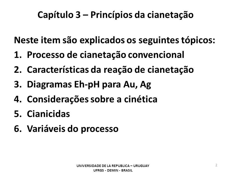 Capítulo 3 – Princípios da cianetação Neste item são explicados os seguintes tópicos: 1.Processo de cianetação convencional 2.Características da reaçã