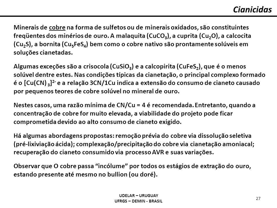 Cianicidas UDELAR – URUGUAY UFRGS – DEMIN - BRASIL 27 Minerais de cobre na forma de sulfetos ou de minerais oxidados, são constituintes freqüentes dos