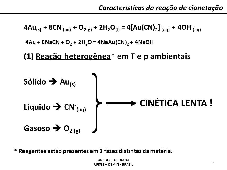 Características da reação de cianetação UDELAR – URUGUAY UFRGS – DEMIN - BRASIL 9 Etapas (a)Difusão dos reagentes até a superfície sólida; (b)Adsorção dos reagentes na superfície sólida; (c)Reação química propriamente dita; (d)Dessorção dos produtos da superfície sólida; (e)Difusão dos produtos até o seio da solução.