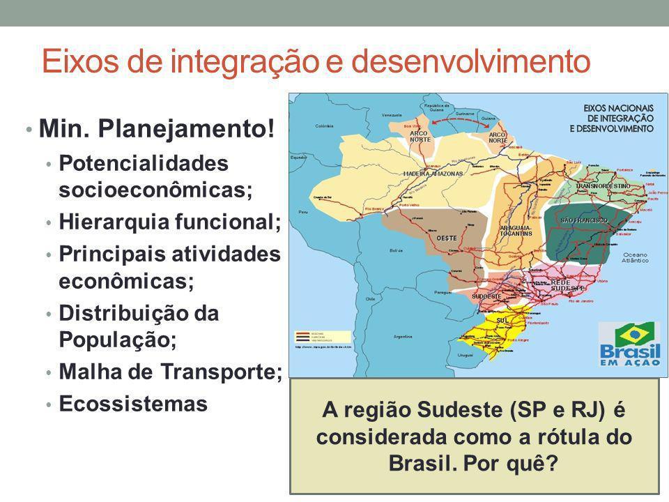 Eixos de integração e desenvolvimento Min. Planejamento! Potencialidades socioeconômicas; Hierarquia funcional; Principais atividades econômicas; Dist