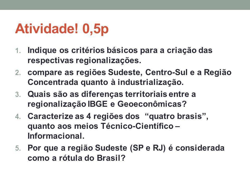 Atividade! 0,5p 1. Indique os critérios básicos para a criação das respectivas regionalizações. 2. compare as regiões Sudeste, Centro-Sul e a Região C