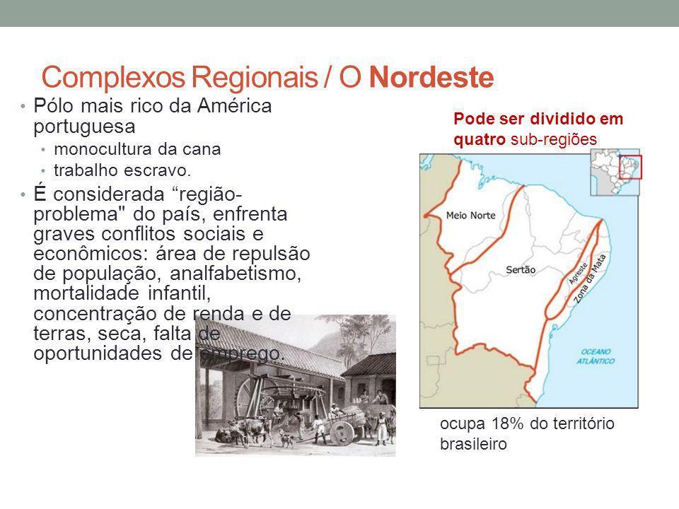 Complexos Regionais / O Nordeste Pólo mais rico da América portuguesa monocultura da cana trabalho escravo.
