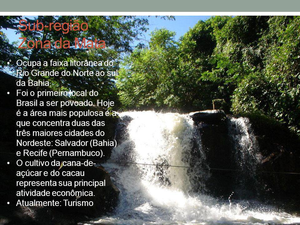 Sub-região Zona da Mata Ocupa a faixa litorânea do Rio Grande do Norte ao sul da Bahia. Foi o primeiro local do Brasil a ser povoado. Hoje é a área ma