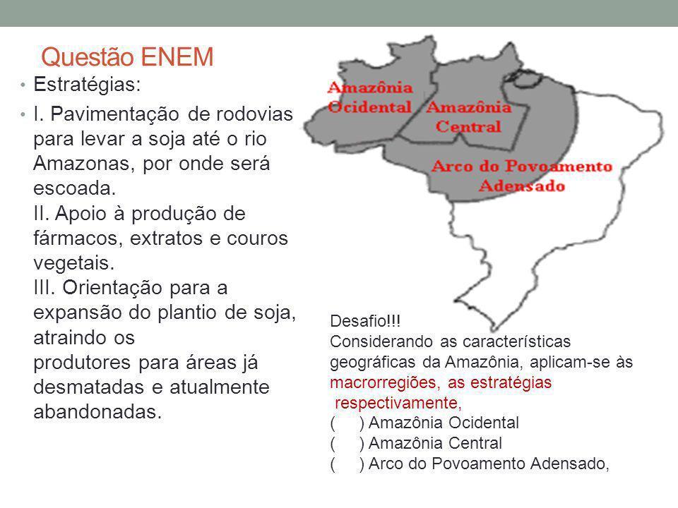 Questão ENEM Estratégias: I. Pavimentação de rodovias para levar a soja até o rio Amazonas, por onde será escoada. II. Apoio à produção de fármacos, e