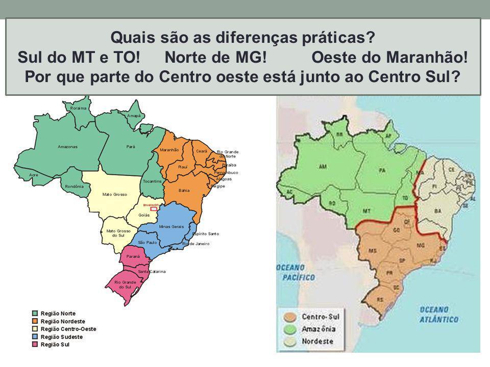 Outras possibilidades de regionalizar o Brasil? P. 389 Regiões do IBGE Regiões Geoeconômicas Quais são as diferenças práticas? Sul do MT e TO!Norte de