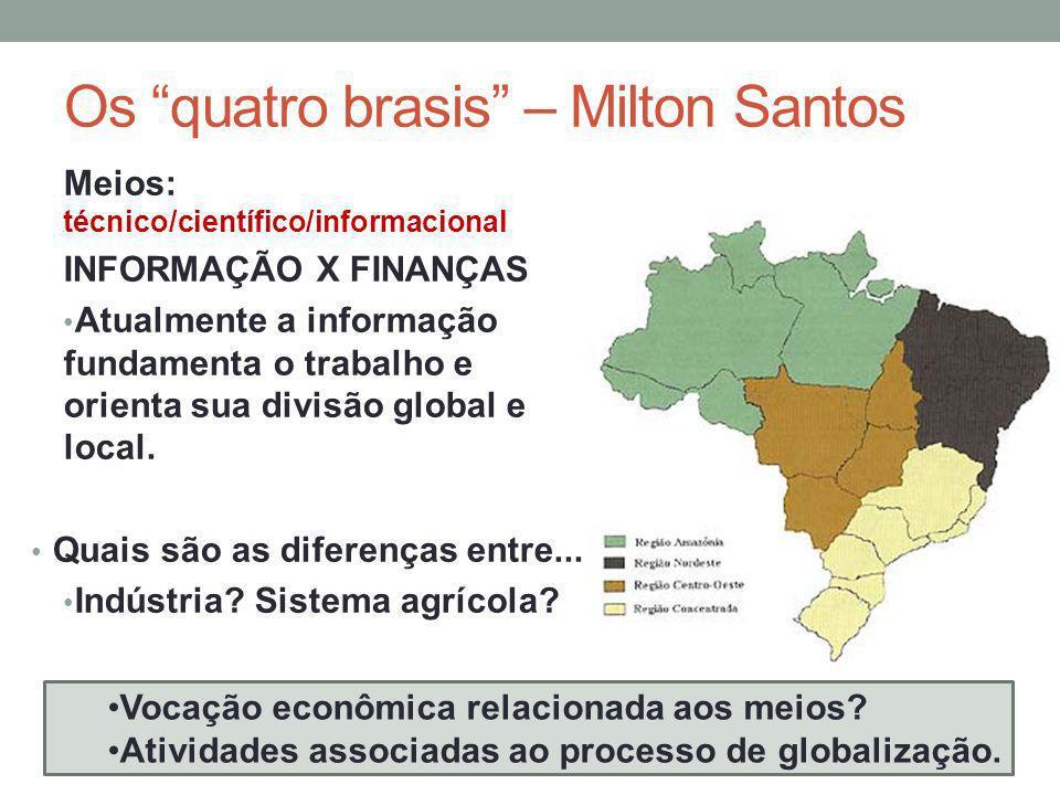 Os quatro brasis – Milton Santos Meios: técnico/científico/informacional INFORMAÇÃO X FINANÇAS Atualmente a informação fundamenta o trabalho e orienta