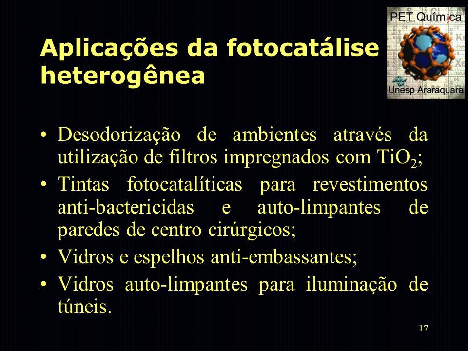 17 Aplicações da fotocatálise heterogênea Desodorização de ambientes através da utilização de filtros impregnados com TiO 2 ; Tintas fotocatalíticas p