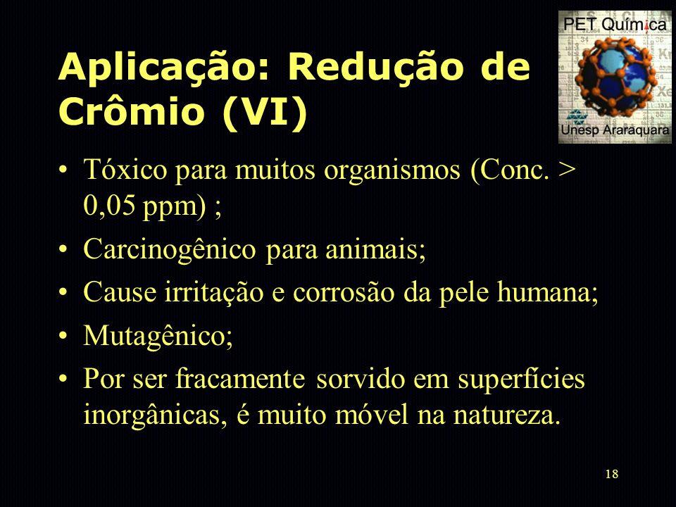 18 Aplicação: Redução de Crômio (VI) Tóxico para muitos organismos (Conc. > 0,05 ppm) ; Carcinogênico para animais; Cause irritação e corrosão da pele