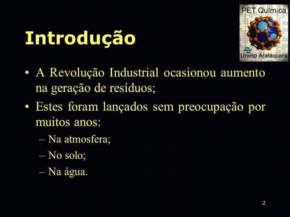 2 Introdução A Revolução Industrial ocasionou aumento na geração de resíduos; Estes foram lançados sem preocupação por muitos anos: –Na atmosfera; –No