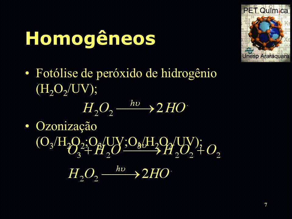 8 Homogêneos Processo Fenton (Fe 2+ /H 2 O 2 ; Fe 2+ /H 2 O 2 /UV): O potencial de tratamento de efluentes só foi considerado nos últimos anos.