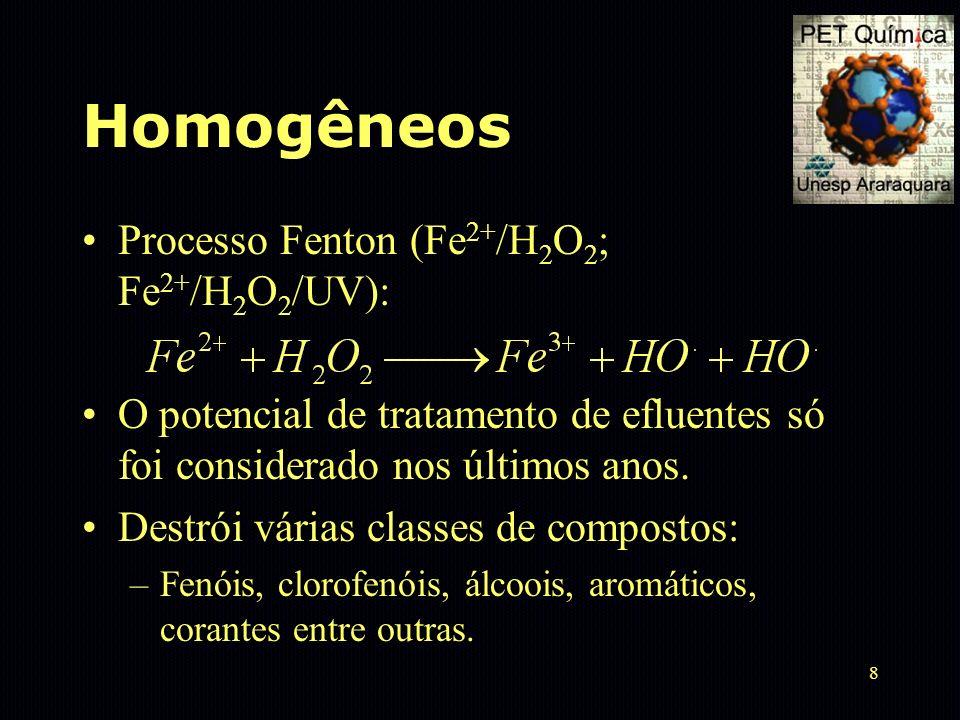 8 Homogêneos Processo Fenton (Fe 2+ /H 2 O 2 ; Fe 2+ /H 2 O 2 /UV): O potencial de tratamento de efluentes só foi considerado nos últimos anos. Destró