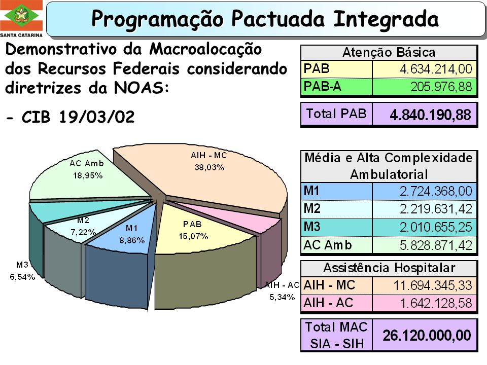 Programação Pactuada Integrada PPI/SC - 2002 Programação Pactuada Integrada PPI/SC - 2002 Distribuição dos Recursos Federais - CIB 19/03/02:
