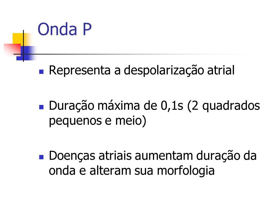 Representa a despolarização atrial Duração máxima de 0,1s (2 quadrados pequenos e meio) Doenças atriais aumentam duração da onda e alteram sua morfolo